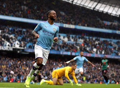 Sterling celebrates giving Man City the lead.