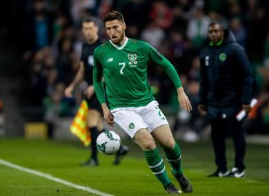 Matt Doherty in action for Ireland.