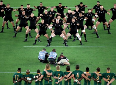 New Zealand perform the Haka ahead of their pool game against South Africa.