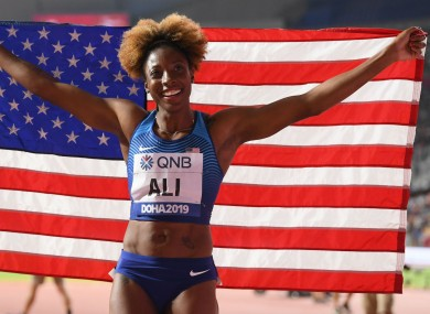 World 100 metres hurdles champion Nia Ali.
