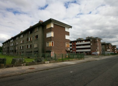 The last remaining blocks of flats in O'Devaney Gardens before their demolition.