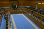 Today's empty chamber after a series of walkouts.