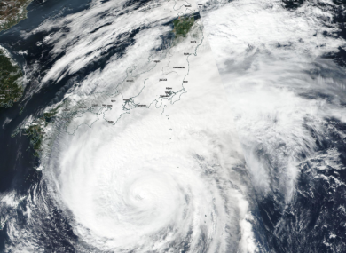 This NASA image showing the outer parts of Hagibis reaching Japan.