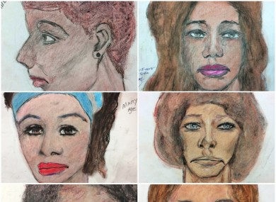 Some of the drawings by Samuel Little of his murder victims.