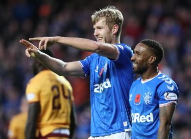 Filip Helander celebrates scoring Rangers' winner at Ibrox.