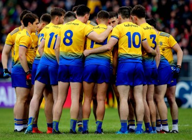The Roscommon team gather in a huddle ahead of their Connacht SFC semi-final against Mayo.