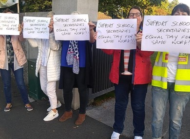 Supporters at St Andrew's National School in Lucan during the strike action.
