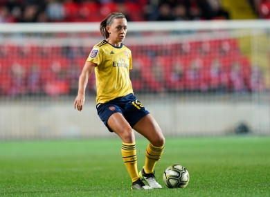 Katie McCabe of Arsenal passes the ball during tonight's UEFA Women's Champions League football match.