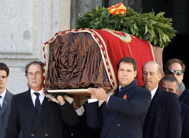 Relatives carry the coffin with the remains of Spanish dictator General Francisco Franco.