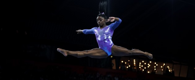 "Simone Biles won her fifth gold medal in the women's floor final today to conclude her ""best ever"" world championships and take her career record to 25 medals."