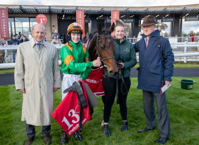 Royal Illusion and connections, including jockey Joey Sheridan and trainer Willie Mullins.