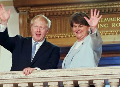 Arlene Foster and Boris Johnson during a meeting in July.