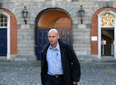 Garda Nicholas Keogh leaving the Disclosures Tribunal at Dublin Castle this afternoon