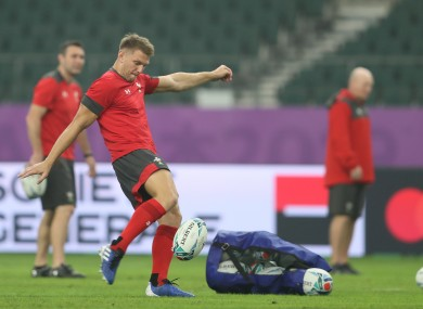 Wales' Dan Biggar during the kicking session at Oita Stadium earlier.