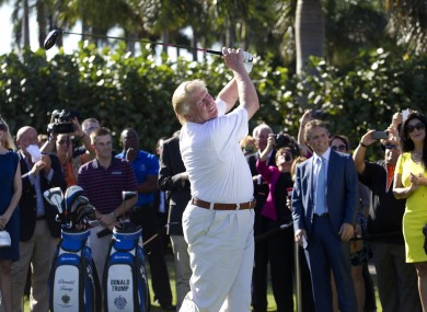 US President Donald Trump playing golf at his club in Doral, Florida