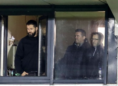 Andy Farrell watches with John Fogarty and Richie Murphy as Leinster defeated Connacht on Friday.