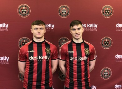 JJ Lunney and Anto Breslin pictured in the new home jersey.