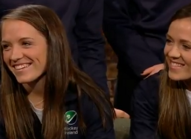 Bethany and Serena Barr on the Late Late Show.