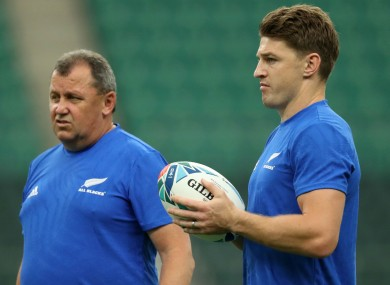 New Zealand full-back Beauden Barrett (right) and assistant coach Ian Foster.