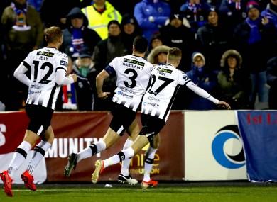 Brian Gartland celebrates scoring a goal for Dundalk.