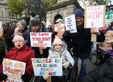 A demonstration over the closure of the Cúisle centre takes place outside the Dáil yesterday