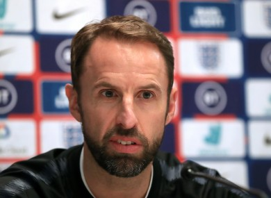England manager Gareth Southgate during the press conference at The Grove Hotel, Watford.