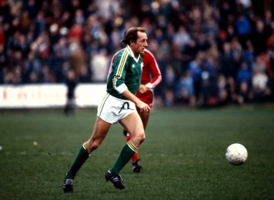 Mick Martin pictured playing for Ireland against USA in 1979.