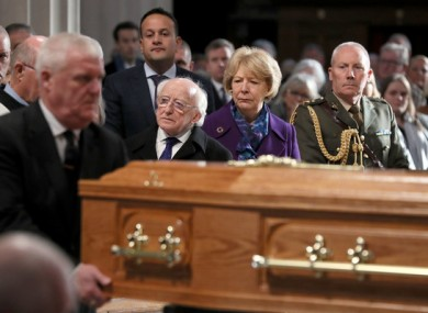 Michael D Higgins at the funeral of broadcaster Gay Byrne.