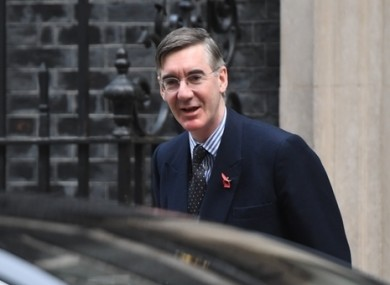 Jacob Rees-Mogg arrives at Downing Street earlier today.