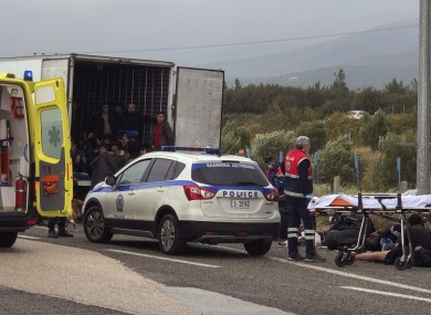 The truck found by police in Greece.
