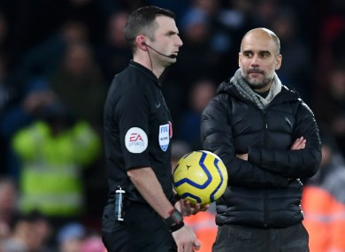 Pep Guardiola questioned some of the officiating decisions yesterday.