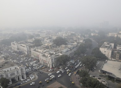 New Delhi's sky line enveloped in smog and dust.