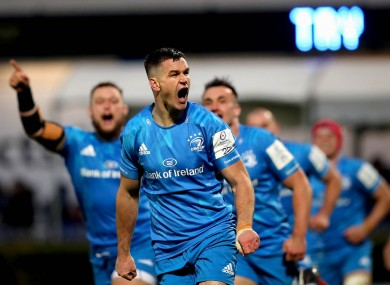 Leinster's Johnny Sexton celebrates his second-half try.