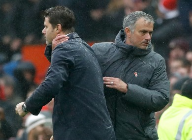 Pochettino and Mourinho at Old Trafford in 2017.