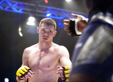 Ireland's Jospeh Duffy fighting at Cage Warriors 70 in Dublin in 2014.