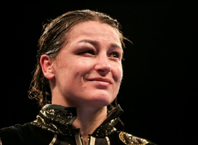 An emotional Katie Taylor soaks in the adulation during her post-fight interview with Sky Sports.