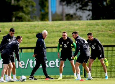 McCarthy and Keogh (centre) with other Ireland players at training in September.