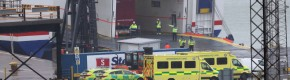 Gardaí and medical staff board ferry at Rosslare after 16 people discovered in shipping container