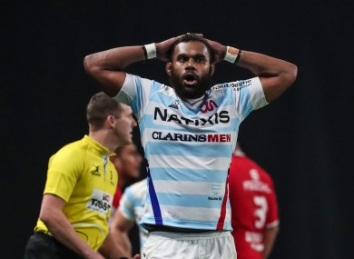Nakarawa catches his breath during Racing's Champions Cup quarter-final with Toulouse last season.