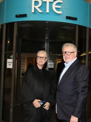 Moya Doherty and John McColgan arriving at RTÉ studios this week.