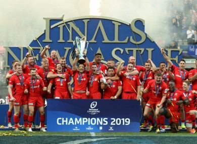 Saracens lift the European Champions Cup in Newcastle.