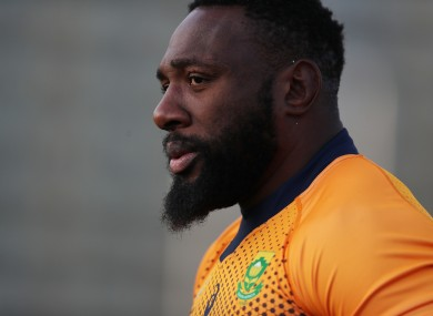 South Africa's Tendai Mtawarira during a World Cup training session.