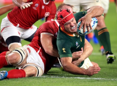 South Africa's Schalk Brits (right) scores in the World Cup against Canada.