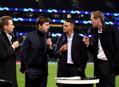 Spurs boss Mauricio Pochettino (second left) speaking to Darrell Currie (left), Jermaine Jenas (centre) and Peter Crouch (right) as part of BT Sport's Champions League coverage.