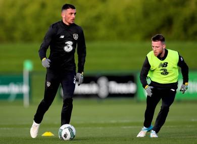 Troy Parrott in training for Ireland yesterday.