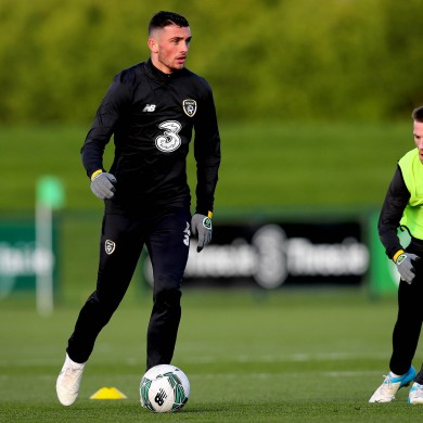 Troy Parrott in training for Ireland yesterday.