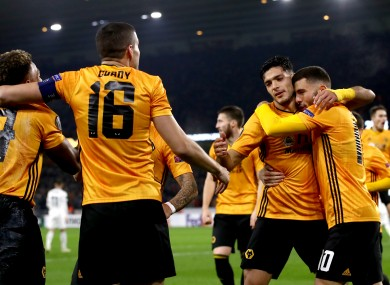 Raul Jimenez celebrates scoring his goal for Wolves.