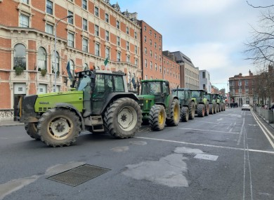 Farmers form a blockade on St Stephen's Green today