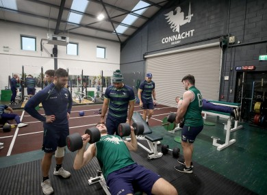 Connacht players in the gym this week.