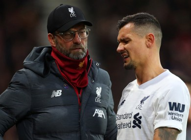 Liverpool manager Jurgen Klopp and defender Dejan Lovren.